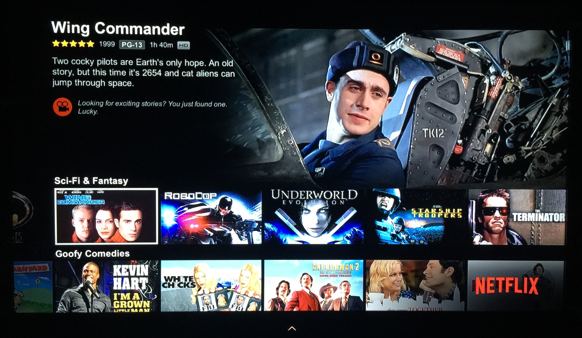 Wing Commander S A Hit On Netflix August 7 2015 Wing Commander Cic